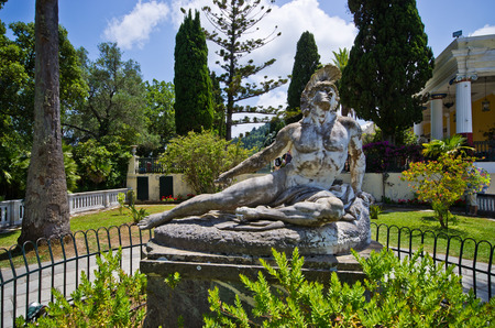 garden statuary: Statue of Wounded Achilles in the garden of Achillion palace on Corfu island, Greece Editorial