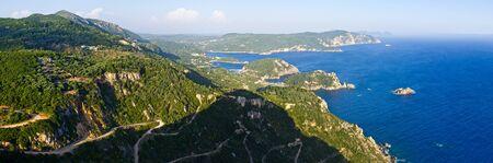 Landscape with Paleokastritsa bay on Crofu island, Greece photo