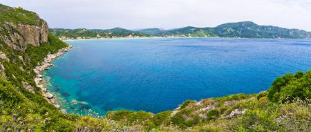 kerkyra: Lagoon and high cliffs near Agios Georgios - Corfu, Greece Stock Photo