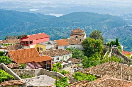 castle buildings: Old buildings in Kruje, Albania Stock Photo