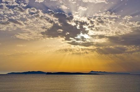 corfu: Beautiful sunset over the islands, Corfu - Greece Stock Photo