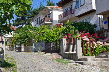 garden settlement: Narrow street in Ohrid town - Macedonia