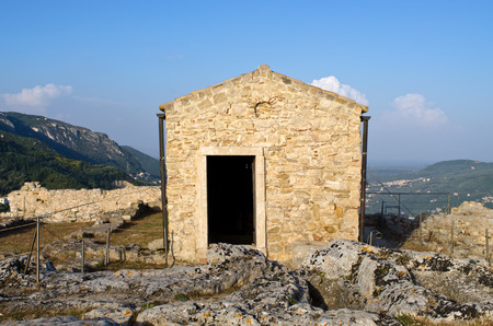 greece granite: Old chapel on Angelokastro castle - Corfu island, Greece Stock Photo