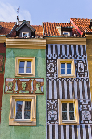 tenement: Colorful tenement houses in Poznan, Poland Editorial