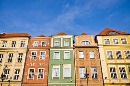 Colorful tenement houses in Poznan, Poland Editorial