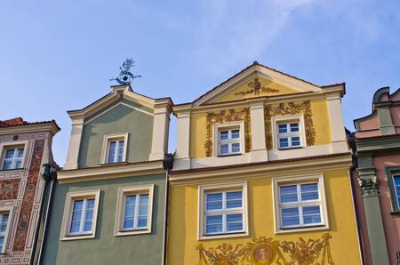 rowhouses: Colorful tenement houses in Poznan, Poland Editorial