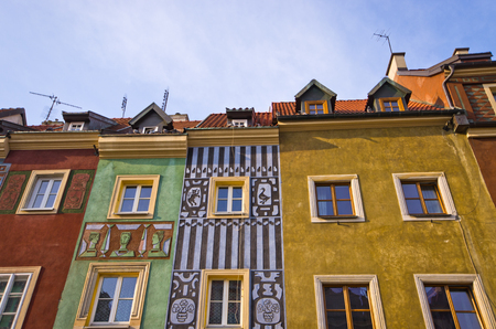 Colorful tenement houses in Poznan, Poland