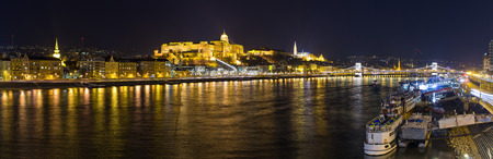 Panorama in Budapest with palace and Danube during the night, Hungary
