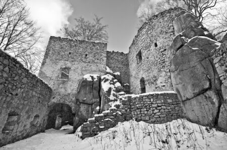 Ruins of Bolczow castle in Rudawy Janowickie mountains, Poland