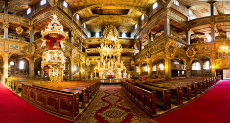 17th century: SWIDNICA, POLAND - MARCH 21, 2015: Interior of UNESCO listed 17th century Church of Peace in Swidnica town, Poland. It is one of the biggest timber-framed religious buildings in Europe. Editorial
