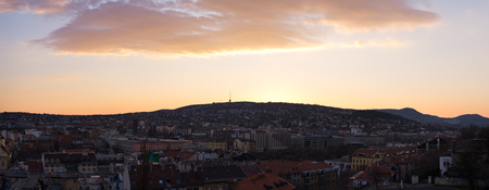 buda: Sunset over Buda - Budapest in Hungary Stock Photo