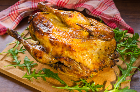 Guinea fowl bird cooked in the oven