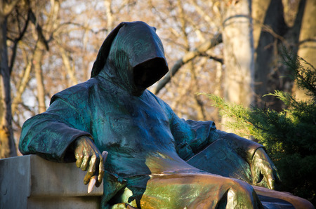 anonymus: Statue of Anonymous in Budapest - Hungary Stock Photo