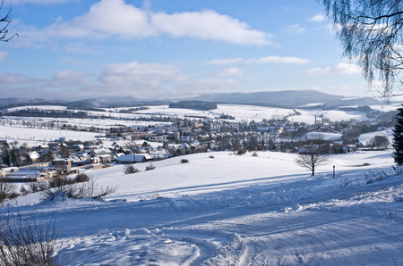 nad': Police nad Metuj� town during the winter, Czech Republic Stock Photo