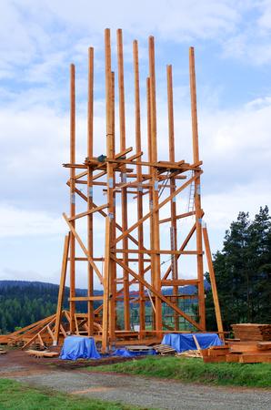 watchtower: New wooden watchtower under construction