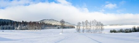 mountain scene: Winter panorama in the hills