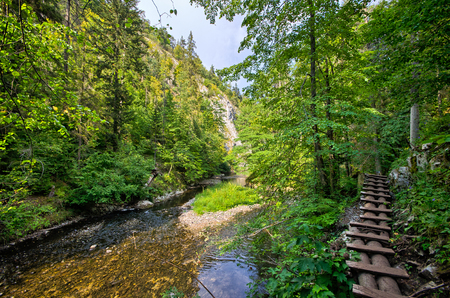 Dangerous trail along the Hornad river, Slovak Paradise Stock Photo