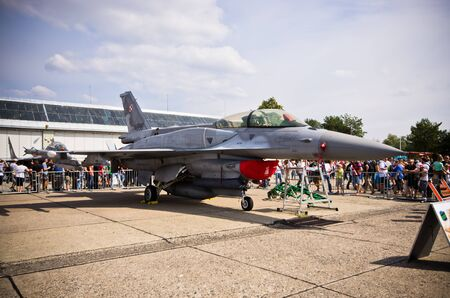 static: RADOM, POLAND - AUGUST 22, 2015: Polish F-16 jet fighter on static display. Airshow event on 22 August 2015, Radom, Poland