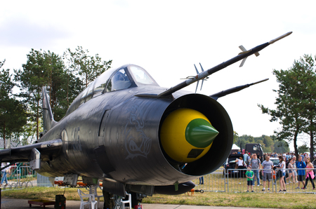 static: RADOM, POLAND - AUGUST 22, 2015: Polish Su-22M4 attack fighter on static display. Airshow event on 22 August 2015, Radom, Poland