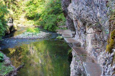 slovak: Dangerous trail along the Hornad river, Slovak Paradise Stock Photo