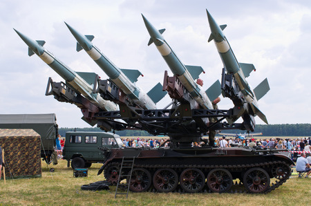 maneuverable: Radom, Poland - August 22, 2015: launcher of S-125 grund-to-air Neva racket system. Airshow event on 22 August 2015, Radom, Poland Editorial