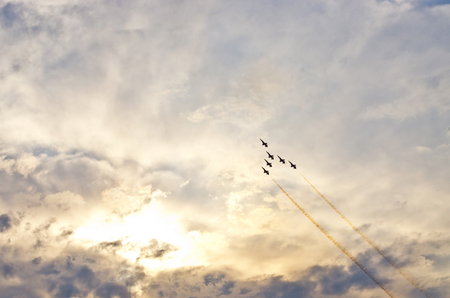Few jests and dramatic sky during the air show Stock Photo