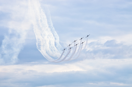 Group of planes during the display on airshow