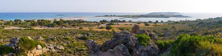 crete: Panorama of Elafonisi beach - Crete Stock Photo