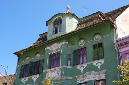 tenement: Old apartment house in Romania Stock Photo
