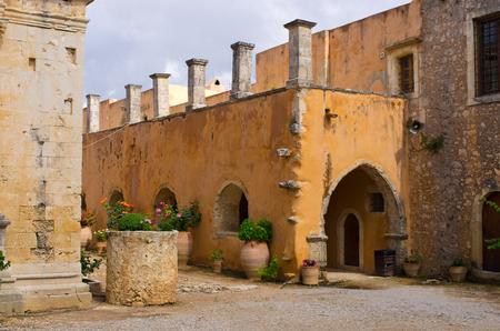 arkady: Moni Arkadiou monastery on Crete, Greece Stock Photo