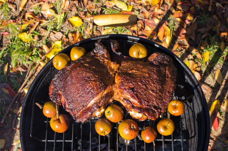 sour grass: Pieces of meat and little apples on the bbq Stock Photo