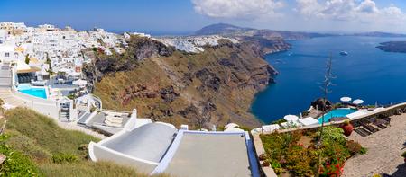 thira: Beautiful panorama of Thira in Santorini island, Greece Stock Photo