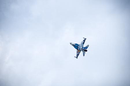 f16: Radom, Poland - August 22, 2015: display of Greek F-16 Zeus. Airshow event on 22 August 2015, Radom, Poland