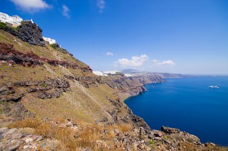 thira: Beautiful cityscape of Thira in Santorini island, Greece