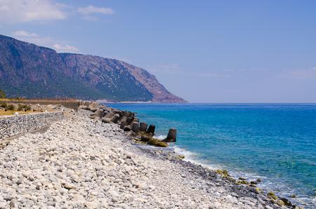 samaria: Stony beach at the end of Samaria Gorge, Crete, Greece