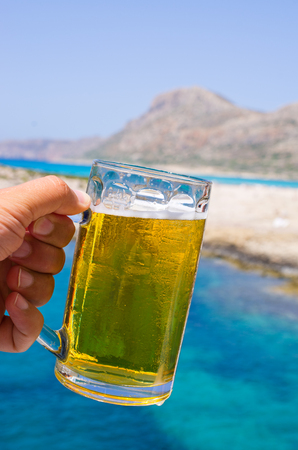 tropical climate: Glass of cold beer in tropical climate Stock Photo