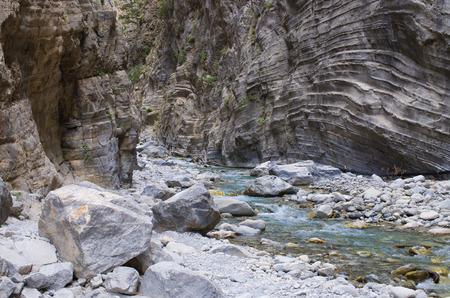 samaria: Creek in Samaria Gorge on Crete, Greece Stock Photo