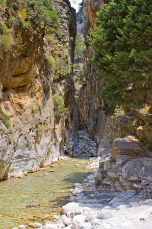samaria: Passage of famous Samaria Gorge, Crete, Greece Stock Photo