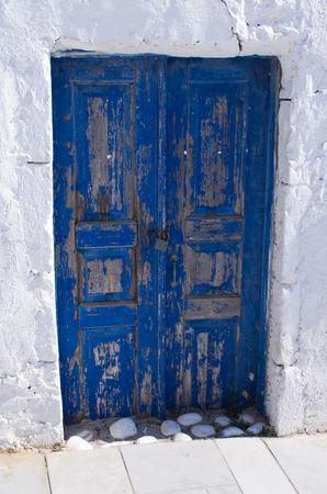 blue door: Old blue door on Santorini island - Greece