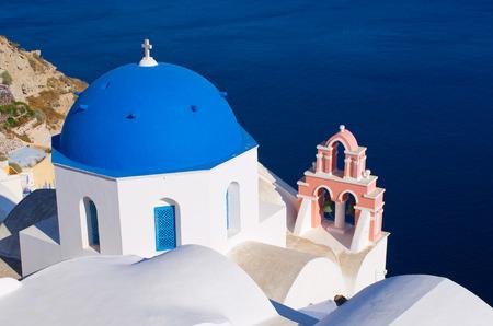 Famous blue church on Santorini island, Oia Stock fotó