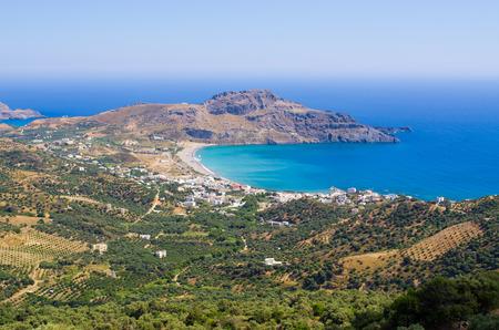 Shore and Plakias town on Crete, Greece Stok Fotoğraf