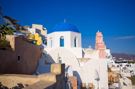 santorini island: Famous blue church on Santorini island, Oia Stock Photo