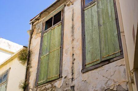 green door: Green door on Crete island, Greece