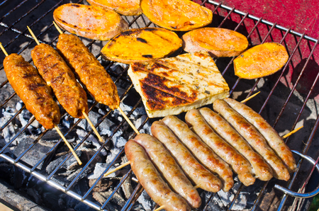 Variety of tasty food on the bbq