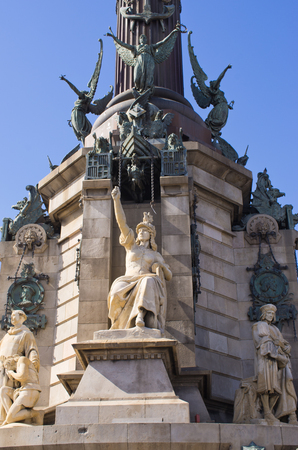 Statue of Christopher Columbus in Barcelona, Spain Editorial