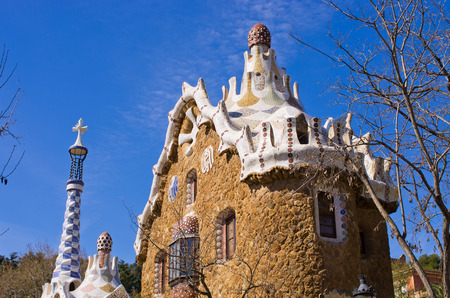Modernist house in Park Guell - Barcelona, Spain