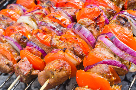 Delicious skewers on the bbq Stock Photo