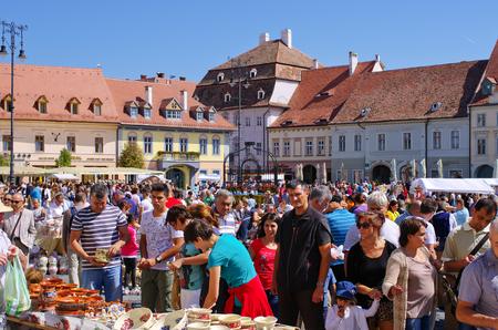 ceramica: Sibiu, Romania - September 06, 2015: Targ Ceramica. Famous yearly organized ceramic market.