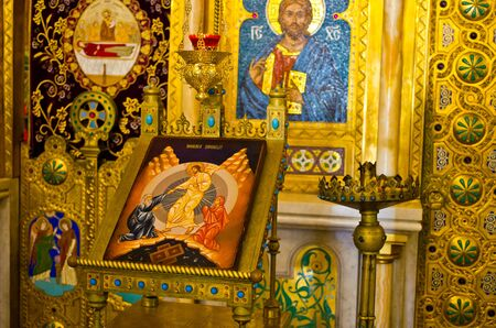iconostasis: Curtea de Arges, Romania - September 07, 2015: Part of iconostasis in cathedral of Curtea de Arges. One of most famous churches in Romania.