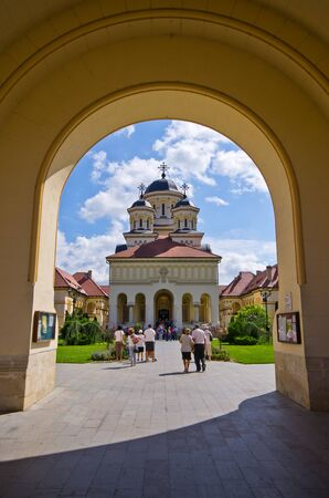 coronation: Alba Iulia, Romania - September 06, 2015: Coronation Cathedral. It was dedicated to the Holy Trinity and the Holy Archangels Michael and Gabriel. Romanian Orthodox Archdiocese of Alba Iulia.